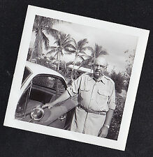 Vintage Antique Photograph Older Man Cigar in Mouth Antique Car West Palm Beach