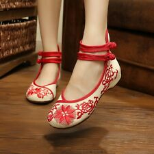 NEW Womens Bridal Casual Ballet Sandals Embroidered Flower Flat Shoes US 6-8.5 O