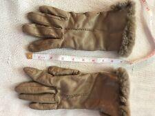 Leather Rabbit Fur Beige Gloves 6 1/2