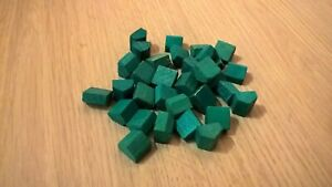 WADDINGTONS MONOPOLY GREEN WOODEN HOUSES x 32 BOARD GAME SPARE PART