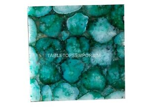 Organic Blue Agate stone Table Top Squared Coffee Side Table Patio Décor Table