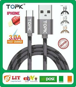 TOPK USB Charging Cable iPhone 7 8 6 5 X 11 Pro 12 Charger Fast Charge 1m 2m