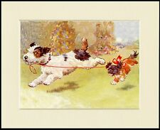 WIRE FOX TERRIER PUP TAKES PEKINGESE FOR A WALK DOG PRINT MOUNTED READY TO FRAME