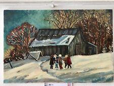 Quadro originale  olio su tela paesaggio russo con bambini