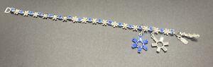 SWAROVSKI Swan Signed Blue White Crystal Removable Charm Flower Bracelet