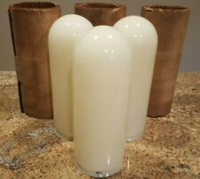 "3 Vintage GLEASON TIEBOUT Bullet Torpedo White Glass Shade/Globes: 12"" x 4 1/4"""