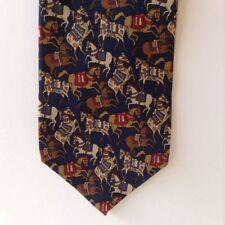 Salvatore Ferragamo Prancing Horses Mens Neck Tie Silk Blue Brown White Red