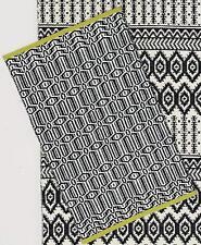 """Hoff Interieur 5750 Teppich """"Sagona"""" 60 x 90 cm mit grünem Rand Baumwolle S/W"""