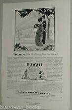 1929 Hawaii Tourist Bureau advertisement, natives, kimono, Flame Trees