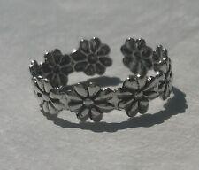 Sterling Silver 925 Toe Ring Flower Design Adjustable Flexible