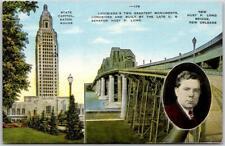 Baton Rouge, Louisiana Postcard State Capitol Bldg / Huey P. Long Bridge - Linen