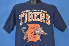 vintage 80s DETROIT TIGERS MASCOT TIGER BLUE ORANGE MLB t-shirt BASEBALL LARGE L