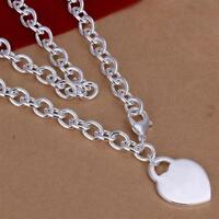 ASAMO Damen Halskette mit Herz Anhänger 925 Sterling Silber plattiert HA1242