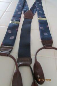 Portfolio Perry Ellis Suspenders/Braces, Geometric print, silk blend, leather