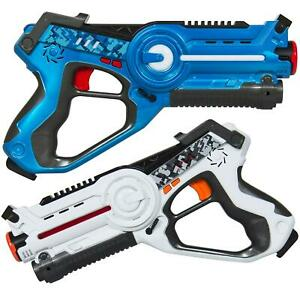2 Piece Kids Interactive Infrared Laser Tag Blaster Toy Play Set With 4 Settings