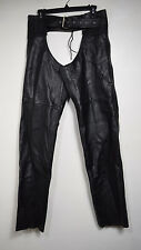 """INTERSTATE BLACK LEATHER MENS CHAPS - SIZE M - WAIST TO LEG CUFF IS 43"""""""