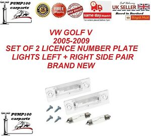 VW GOLF V MK5 2005-2009 SET OF 2 LICENCE PLATE NUMBER LAMP LIGHT PAIR LH+RH NEW