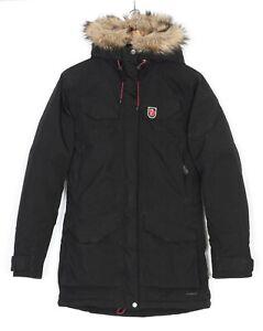 FJALLRAVEN NUUK PARKA HYDRATIC Fur Hooded Black Parka Jacket Women Size XXS