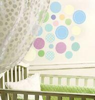 30 PASTEL POLKA DOTS WALLIES WALL DECALS Baby Nursery Kid Room Stickers Decor