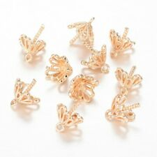 10pcs Brass Flower Cup Pinch Bails Half-drilled Pendant Holder Findings Pin: 1mm
