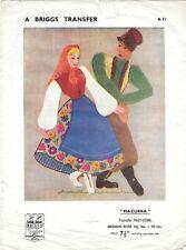 "Vintage Embroidery Applique Transfers Polish Folk Art Dancing 14.5x10"" Briggs"