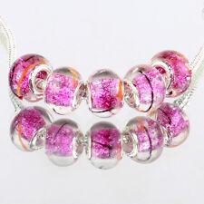 Rose 5pcs MURANO glass bead LAMPWORK For European Charm Bracelet