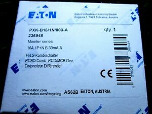 Eaton FI/LS-Kombischalter B 16A 1p+N, 30mA PXK-B16/1N/003-A !! NEU !!!