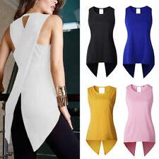 Ladies Tops Asymétrique Longue T-shirts Sans manches Blouse Bureau Chemise Mode