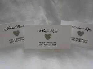 Wedding Table Seating Place Name Cards with glittered hearts