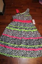 nwt new girls size 12 dress by swak from sears pink  green black white dressy