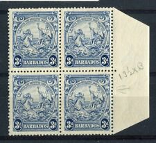 Barbados KGVI 1938-47 3d blue SG252ca  R4/10 line over horse's MNH in MH block