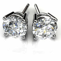 1.00 ct Solitaire Round Diamond Earrings 14K White Gold Earring Studs ASF572