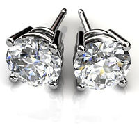 1.00 ct Solitaire Excellent Round Cut Diamond Earrings Stud 14Kt White Gold 367
