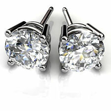 1.00ct Diamond Earrings Fine 14Kt White Gold Stud Round Shape Jewelry ACVF