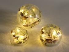LED Glaskugel 3er Set Lichtkugeln mit Vögeln Laterne Dekoration Lichtdeko Meisen