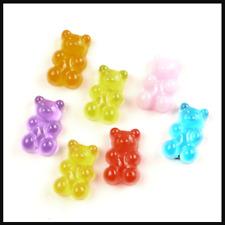 20 pcs gummy bears sweets charm plastic kawaii cute 17mm flatback