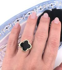 Solid 14k Yellow Gold & Black onyx 4 Leaf Clover (17mm) Ring, Sz 8.25, New