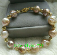 "7.5-8"" baroque AAA+ 9-11mm real natural south sea multicolor Pearl Bracelet 14k"