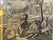 alte Darstellung Schäfer/Schafschur Bauern b.d. Ernte  mittlealterlich 39x50 cm