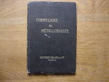 Formulaire du Metallurgiste Tricot 1946 fraises arbres de transmission