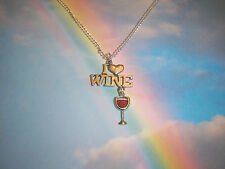 I LOVE WINE PENDANT NECKLACE SILVER HEART RED WINE GLASS CHARM IN GIFT BAG