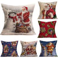 Merry Christmas Linen Santa Soft Pillow Cases Sofa Cushion Cover Home Decoration