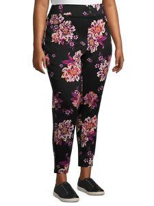 Terra & Sky Women's Plus 2XL Black Floral Super Soft Skinny Mid- Rise Jeggings