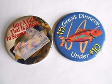Lot of 2 Vintage Red Lobster Seafood Restaurant Advertising Pinback Buttons