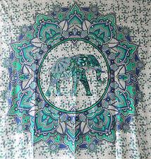 Couverture indienne Tenture éléphants et fleurs de lotus bleu 235x200cm