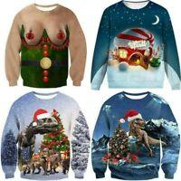 Herren Langarm T shirt Sweatshirt Weihnachten Tee Hemd Shirt