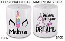 Personalised Unicorn Dreams Savings bank Money Box Gift Birthday Present Idea