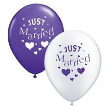 10 x Purple & White Just Married Balloons Helium or Air Party Wedding Balloon