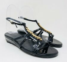 Stuart Weitzman Women's T-Strap Slingback Sandals  Size 5 Black Patent Leather