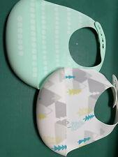 2Pcs Waterproof Cloud Island Baby Silicone Bibs Feeding Bib Food Catcher Pocket